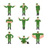 Russian Soldier set poses. Warrior happy and yoga. sleeping and. Angry Military in Russia. guilty and sad. Illustration for 23 February. Defender of Fatherland Stock Photo