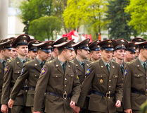 Russian soldiers. March of soldiers on a parade Royalty Free Stock Images