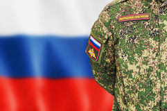 Russian soldiers in camouflage uniforms Stock Photos
