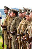 Russian soldiers of the first world war in alignment. Royalty Free Stock Photos
