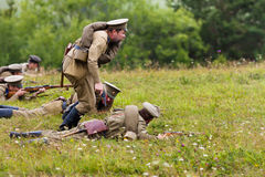 Russian soldiers of the first world war during attack. Royalty Free Stock Images