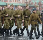 Russian soldiers in the form of the Great Patriotic War at the parade on Red Square in Moscow. Royalty Free Stock Photography