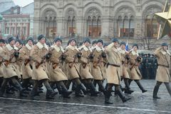 Russian soldiers in the form of the Great Patriotic War at the parade on Red Square in Moscow. Royalty Free Stock Images