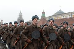 Russian soldiers in the form of the Great Patriotic War at the parade on Red Square in Moscow. Stock Photos