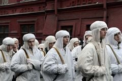 Russian soldiers in the form of the Great Patriotic War at the parade on Red Square in Moscow. Stock Photography