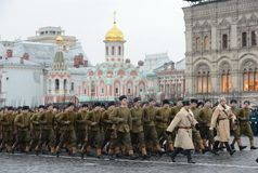 Russian soldiers in the form of the Great Patriotic War at the parade on Red Square in Moscow. Royalty Free Stock Image