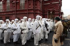 Russian soldiers in the form of the Great Patriotic War at the parade on Red Square in Moscow. Stock Image