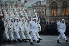 Russian soldiers in the form of the Great Patriotic War at the parade on Red Square in Moscow. Stock Images