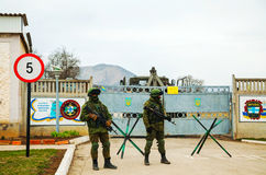 Russian soldiers guarding an Ukrainian naval base in Perevalne, Royalty Free Stock Images
