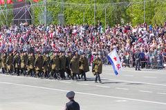 Russian soldiers march at the parade on annual Victory Day, May, Stock Images