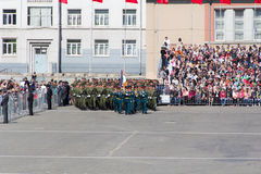 Russian soldiers march at the parade on annual Victory Day Stock Photo