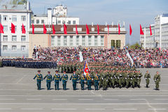 Russian soldiers march at the parade on annual Victory Day Stock Images