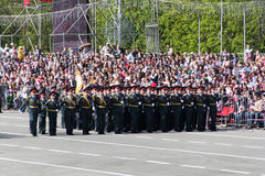 Russian soldiers march at the parade on annual Victory Day Royalty Free Stock Image