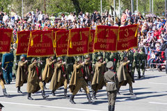 Russian soldiers march at the parade on annual Victory Day Stock Image