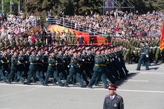 Russian soldiers march at the parade on annual Victory Day Royalty Free Stock Images