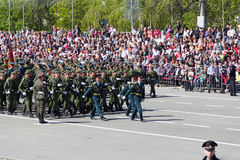 Russian soldiers march at the parade on annual Victory Day Royalty Free Stock Photos