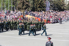 Russian soldiers march at the parade on annual Victory Day Royalty Free Stock Photo