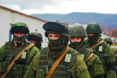 Russian soldiers on march in Perevalne, Crimea Royalty Free Stock Photo