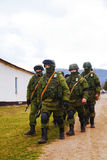 Russian soldiers on march in Perevalne, Crimea Royalty Free Stock Image