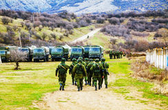 Russian soldiers on march in Perevalne, Crimea Stock Photo