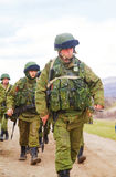 Russian soldiers on march in Perevalne, Crimea Royalty Free Stock Photos