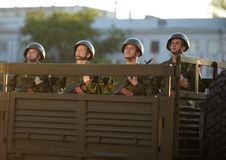 Russian soldiers at the parade repetition Stock Photos
