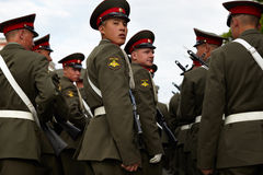 Russian soldiers at the parade repetition Royalty Free Stock Photography