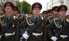 Russian soldiers at the parade repetition Royalty Free Stock Photo