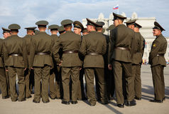 Russian soldiers at the parade repetition Royalty Free Stock Photos