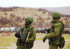 Russian soldiers in Perevalne, Crimea Stock Image