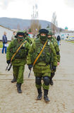 Russian soldiers in Perevalne, Crimea Royalty Free Stock Photos
