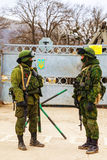 Russian soldiers in Perevalne, Crimea Stock Photography