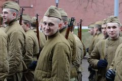 Russian soldiers prepare to parade in Red Square in Moscow. Royalty Free Stock Image
