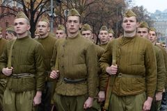 Russian soldiers prepare to parade in Red Square in Moscow. Royalty Free Stock Photos