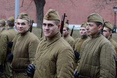 Russian soldiers prepare to parade in Red Square in Moscow. Stock Images