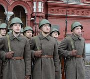 Russian soldiers prepare to parade in Red Square in Moscow. Royalty Free Stock Photography