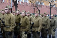 Russian soldiers prepare to parade in Red Square in Moscow. Royalty Free Stock Photo