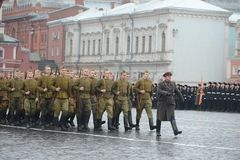 Russian soldiers prepare to parade in Red Square in Moscow. Stock Photo