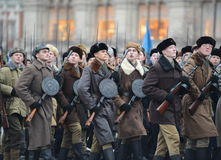 Russian soldiers on red square in honor of the parade of November 7, 1941. Royalty Free Stock Photos