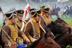 Russian soldiers-reenactors at Borodino battle historical reenactment in Russia Royalty Free Stock Photo