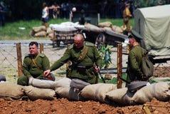 Russian soldiers-reenactors Royalty Free Stock Photo