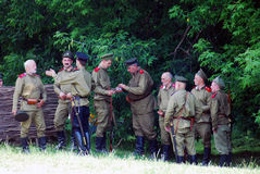 Russian soldiers-reenactors Royalty Free Stock Images