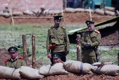 Russian soldiers-reenactors Royalty Free Stock Photos