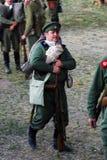 Russian soldiers-reenactors at Osovets battle reenactment Royalty Free Stock Image