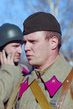 Russian soldiers-reenactors Royalty Free Stock Photography