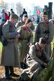 Russian soldiers-reenactors Stock Photos
