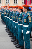 Russian soldiers a women Stock Photography