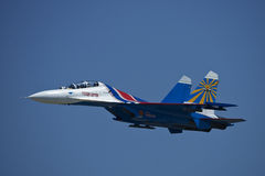 Russian solo Su-27. Solo Su-27 fours rope in Kecskemet air show Royalty Free Stock Image