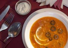 Russian solyanka dish. Still life with russian dish solyanka and sour cream Royalty Free Stock Photo