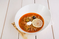 Russian solyanka soup Stock Image